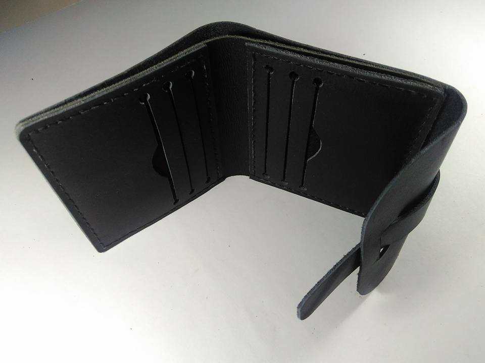 Hand Stitched Cow Leather Wallet - Black