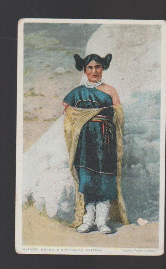 Kodeh A Hopi Belle Arizona Unused Postcard Fred Harvey Phostint