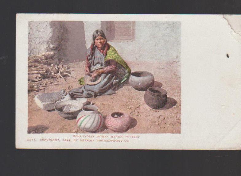 Moki Indian Woman Making Pottery Undivided Back Postcard