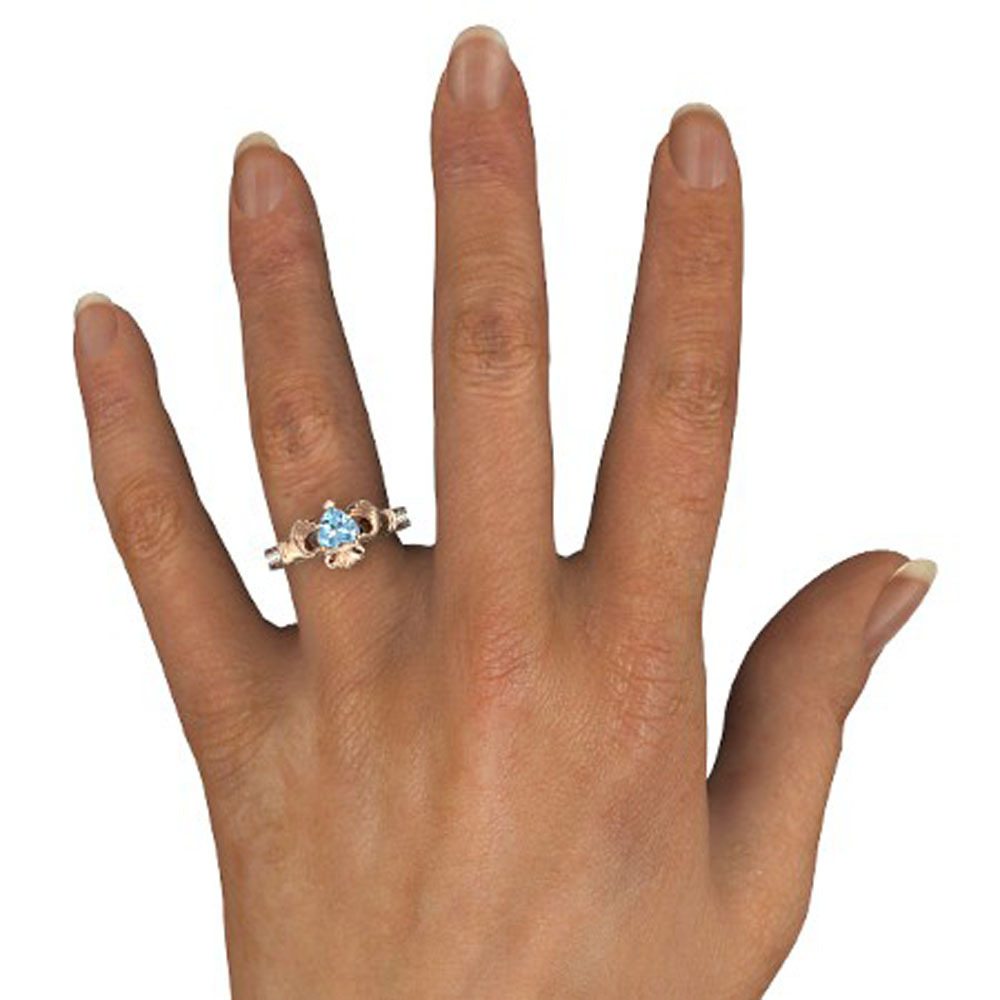 Lovely Heart Shape Blue Aquamarine Crown Claddagh Promise Ring in 14K Rose GP
