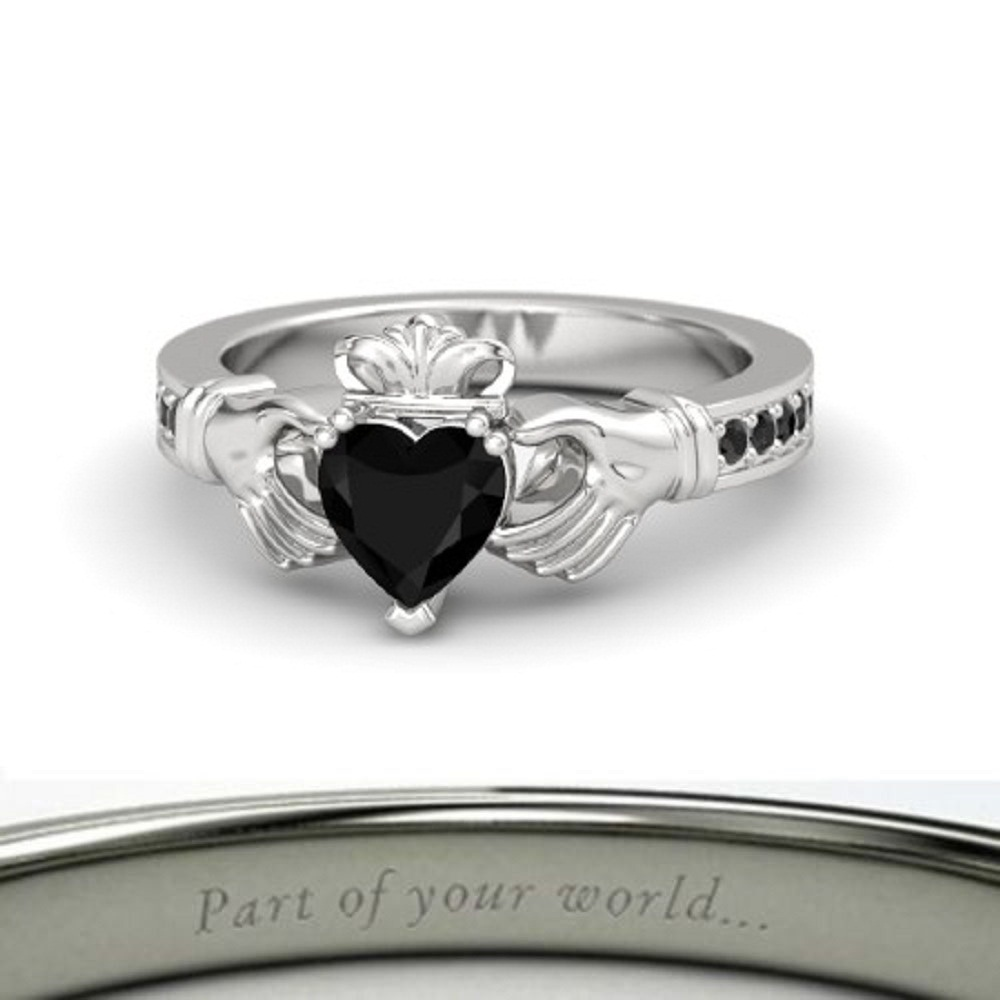 Lovely Heart Shape Black CZ Diamond Crown Claddagh Promise Ring in 14K White GP