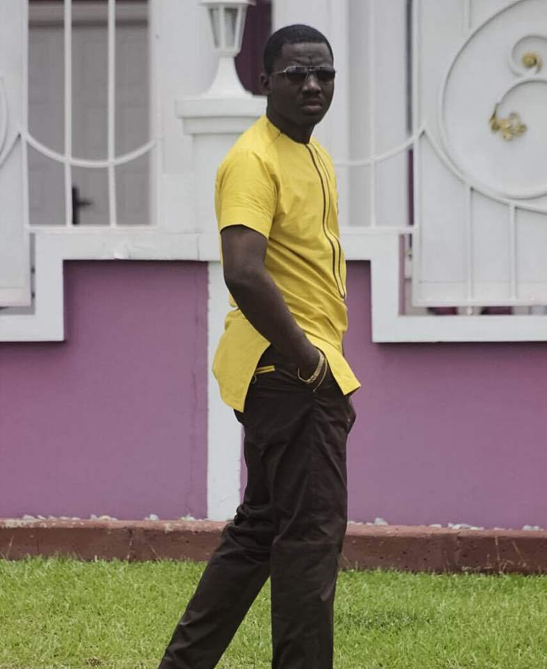 Yellow & Brown Men's Long Sleeve Shirt and Pants African Clothing Men's Wear