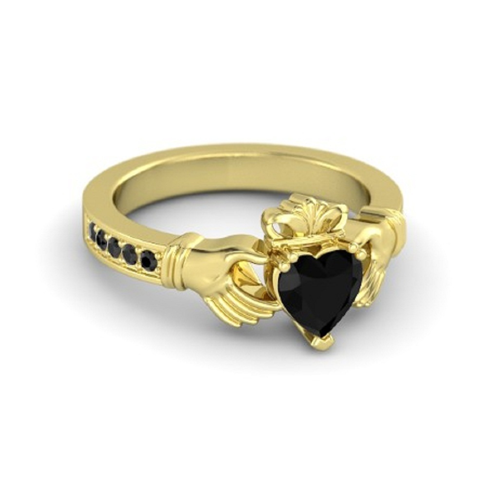 Lovely Heart Shape Black CZ Diamond Crown Claddagh Promise Ring in 14K Yellow GP