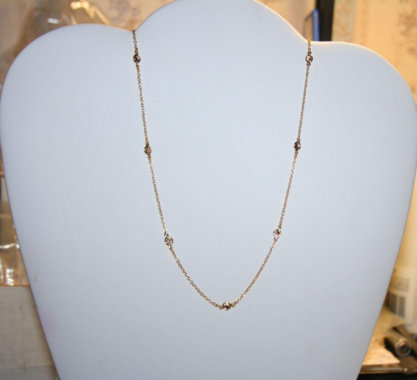 Champagne Diamond Alternatives By the Yard Necklace 14k Yellow Gold Over 925 SS
