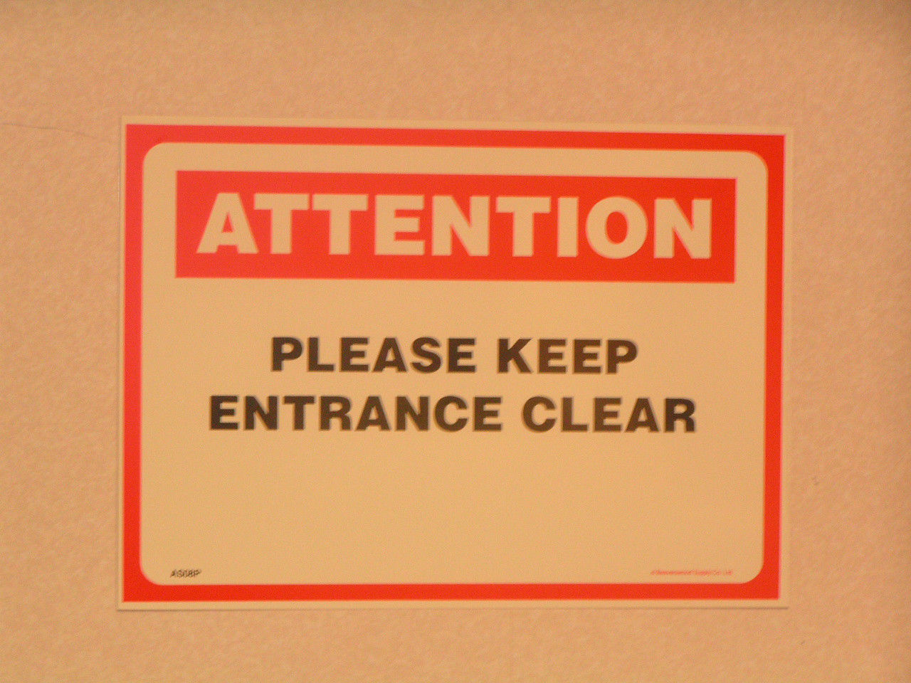 Attention Warning Safety Please Keep Entrance Clear 254 x 356mm, Rigid PVC Sign