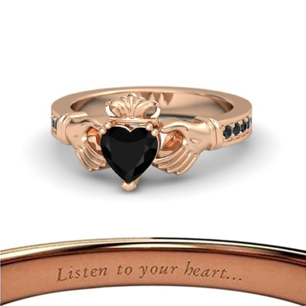 Lovely Heart Shape Black CZ Diamond Crown Claddagh Promise Ring in 14K Rose GP