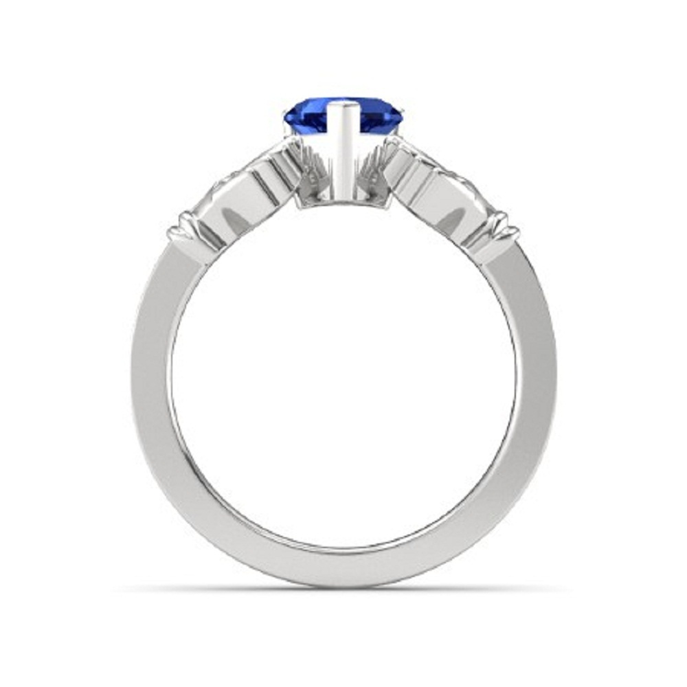 Lovely Heart Shape Blue Sapphire Crown Claddagh Promise Ring in 14K White GP