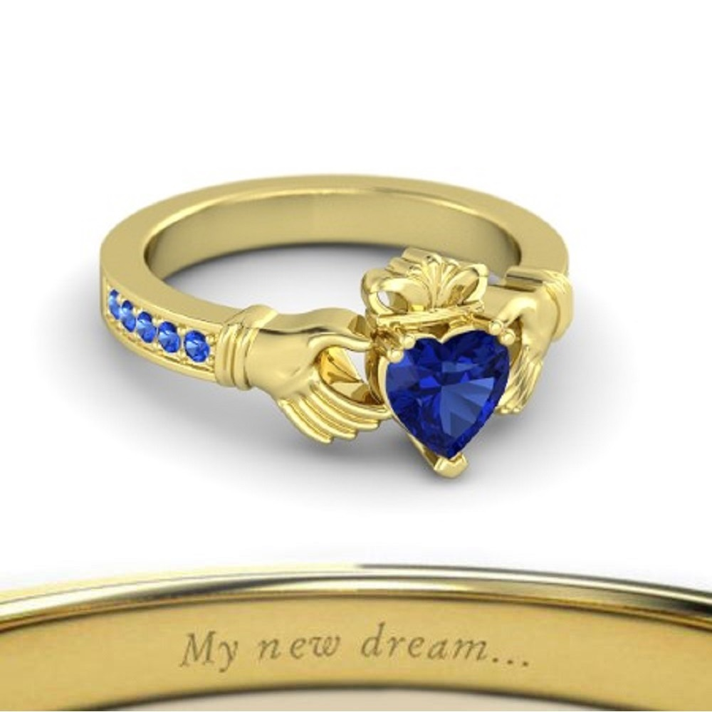 Lovely Heart Shape Blue Sapphire Crown Claddagh Promise Ring in 14K Yellow  GP