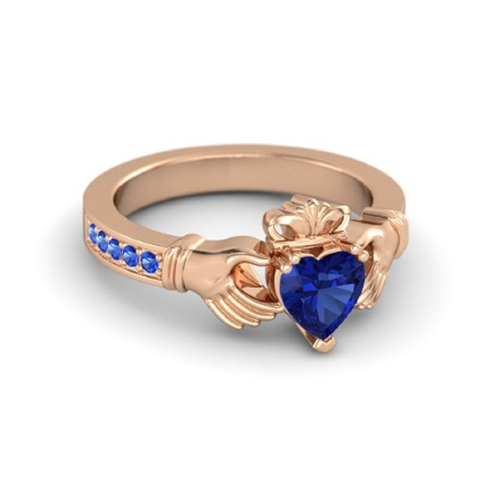 Lovely Heart Shape Blue Sapphire Crown Claddagh Promise Ring in 14K Rose GP