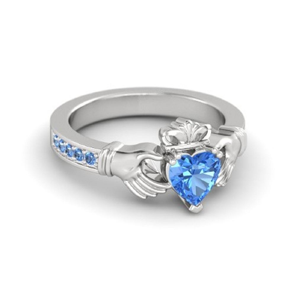 Lovely Heart Shape Blue Topaz Crown Claddagh Promise Ring in 14K White GP