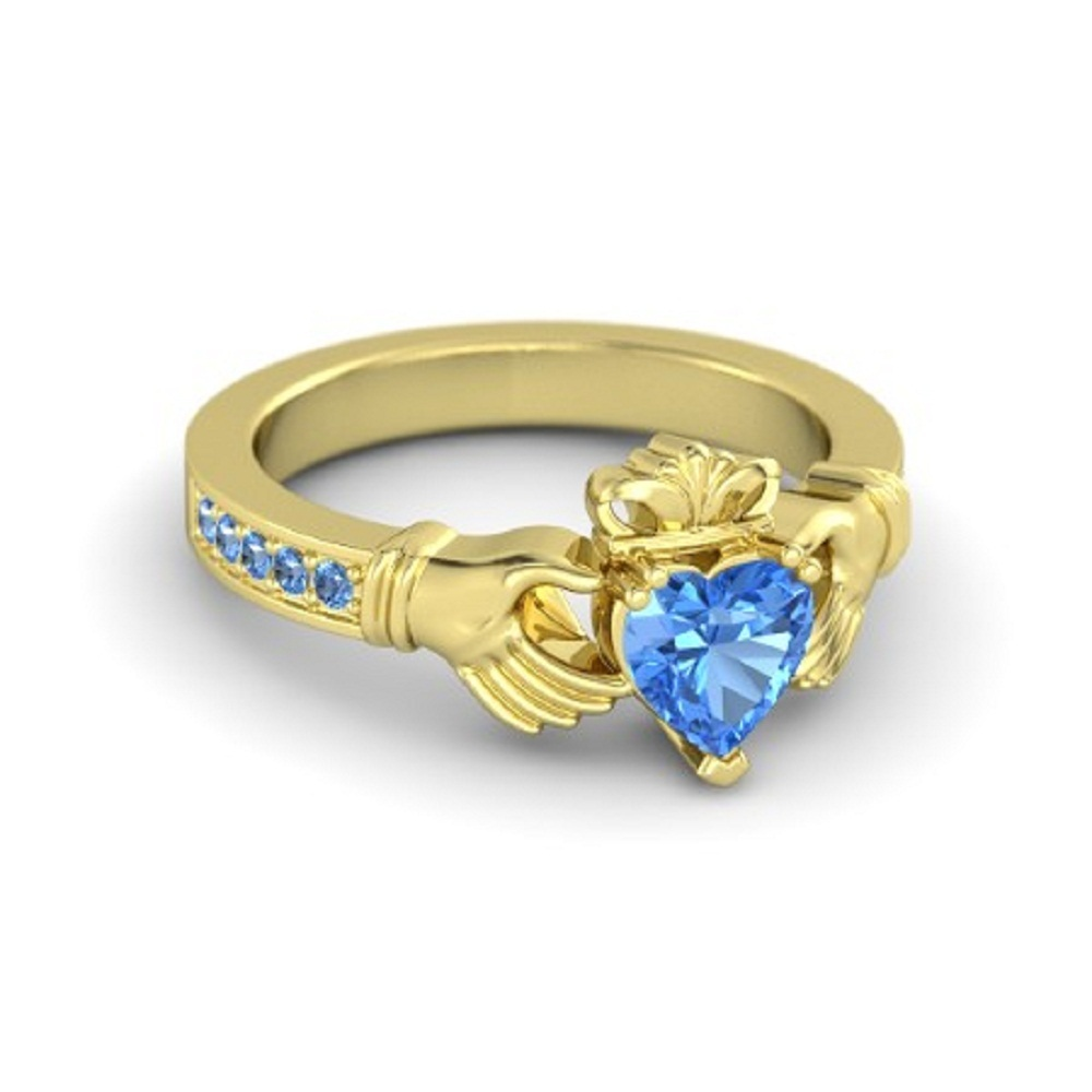 Lovely Heart Shape Blue Topaz Crown Claddagh Promise Ring in 14K Yellow GP