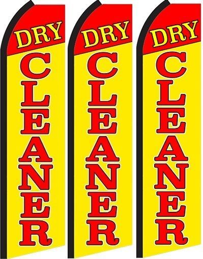 Dry Cleaner  Standard Size  Swooper Flag banner  sign pk of 3