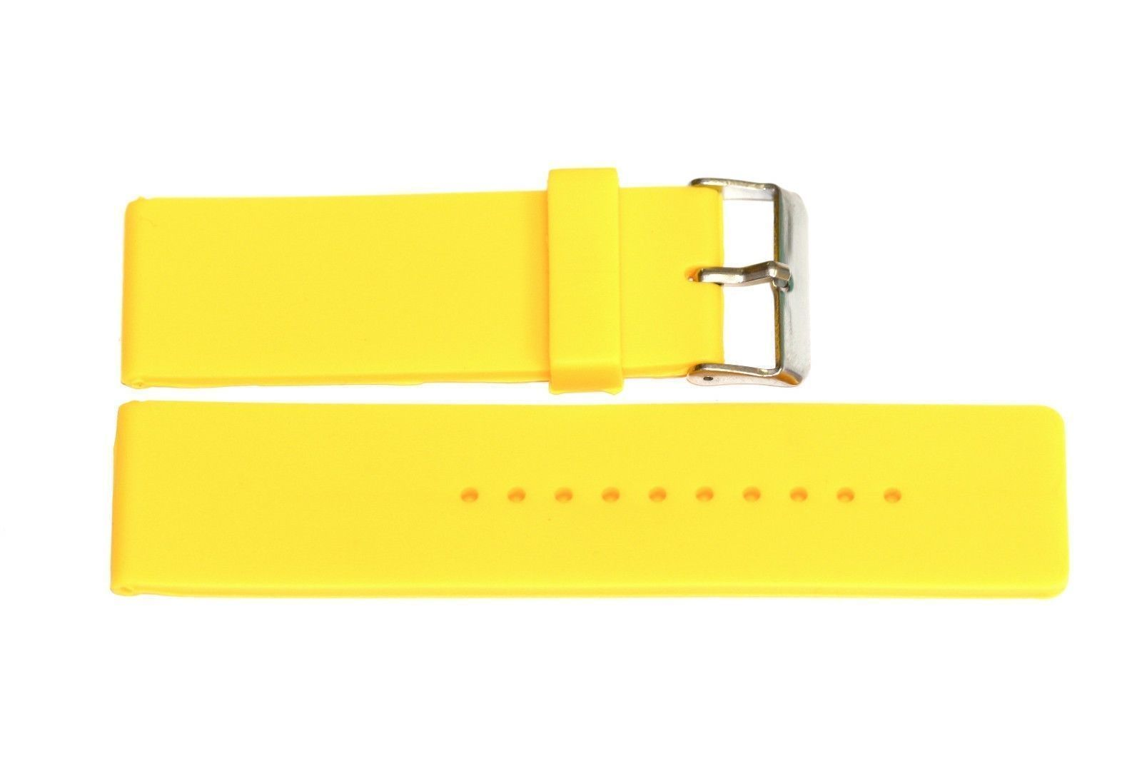 Primary image for 24MM YELLOW SMOOTH RUBBER WATERPROOF SPORT DIVER WATCH BAND STRAP