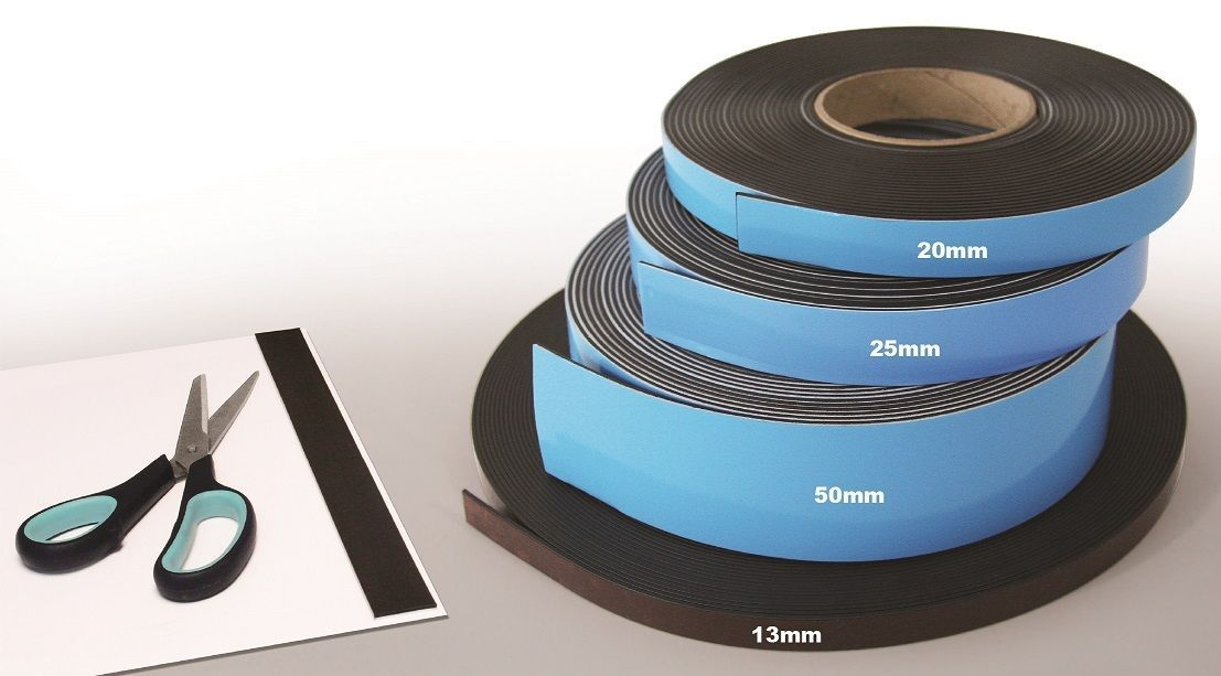 Magnetic Self-Adhesive Tape/Strip/Roll - 10 Metres Long - 13mm 20mm 25mm 50mm