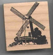 Windmill Dutch Large Rubber Stamp made in america free shipping danish - $25.73
