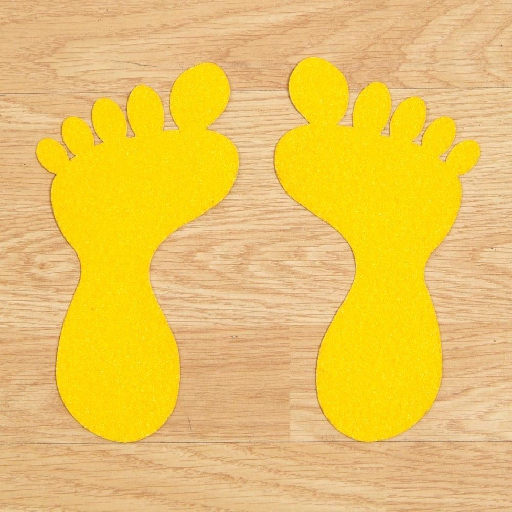 Anti Slip Self Adhesive Feet w/ Toes SMALL 104mm x 57mm Pack = 10 Black/Yell