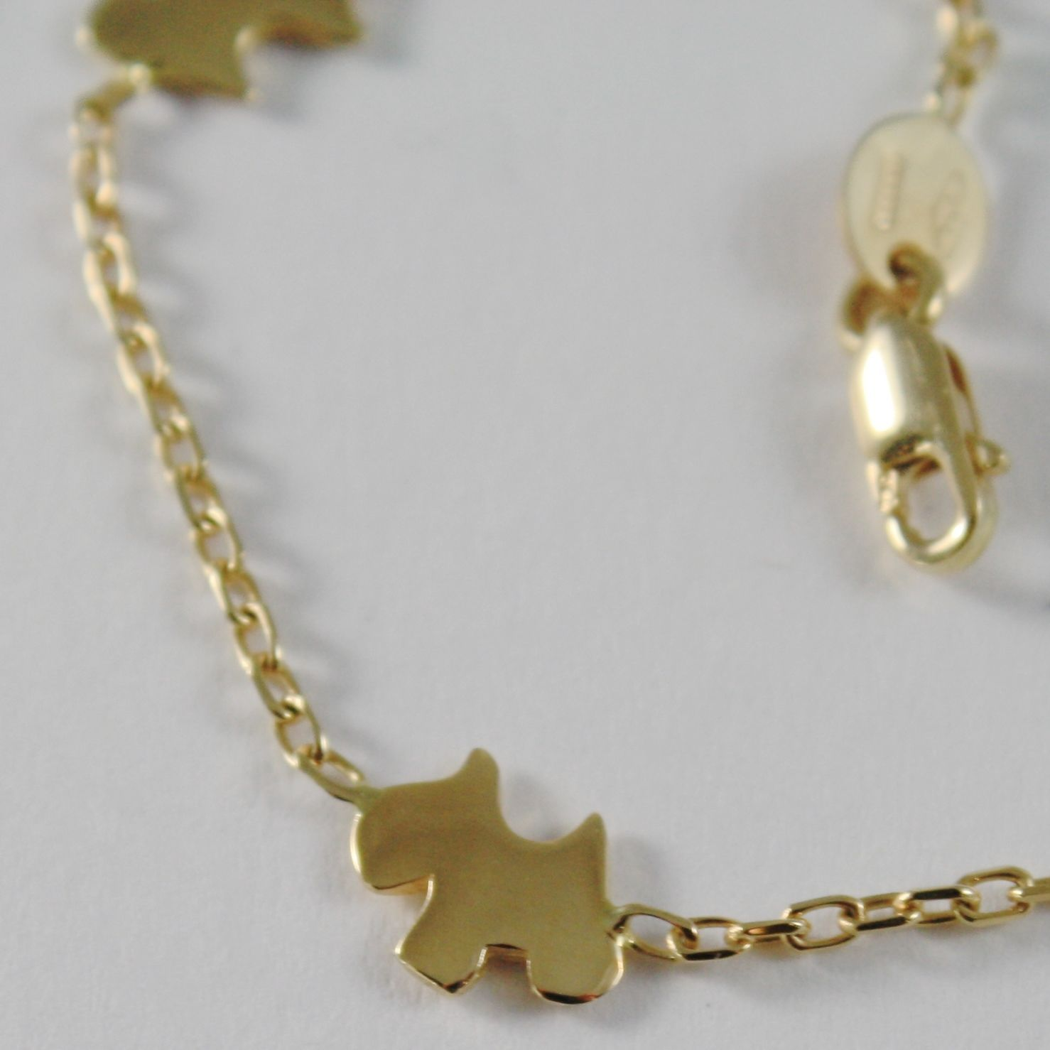 18k YELLOW GOLD BRACELET SMOOTH BRIGHT WITH DOG, PUPPY, TERRIER MADE IN ITALY
