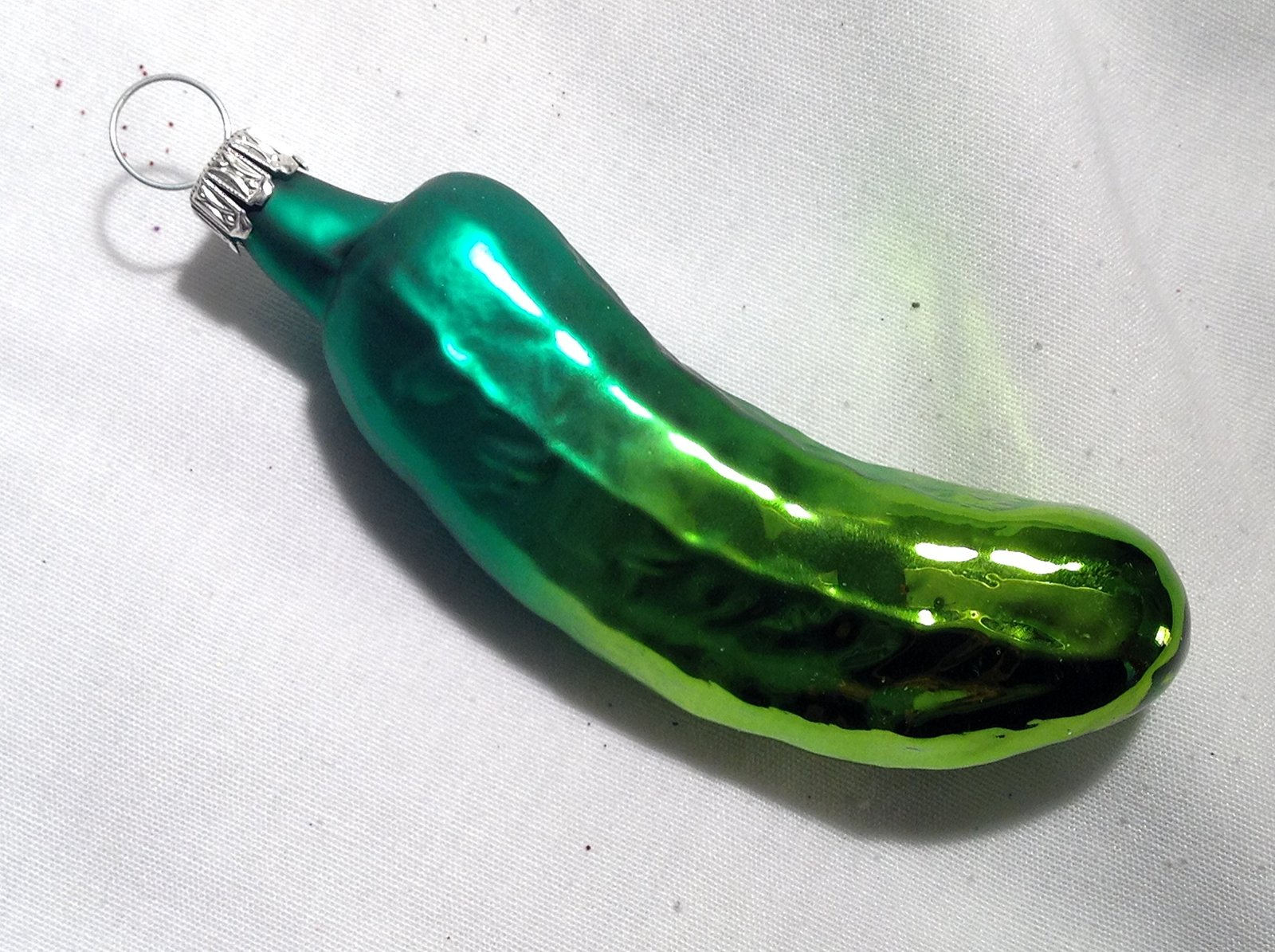 Large Two Toned Green Pickle Hand Painted Glass Ornament