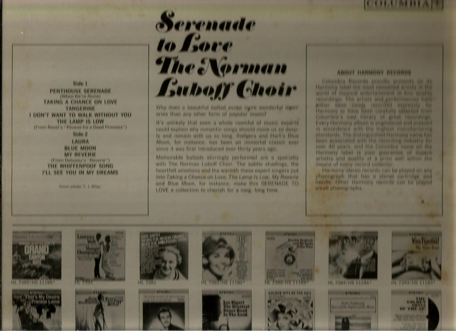 THE  NORMAN  LUBOFF  CHOIR  * SERENADE TO LOVE *  LP  STEREO