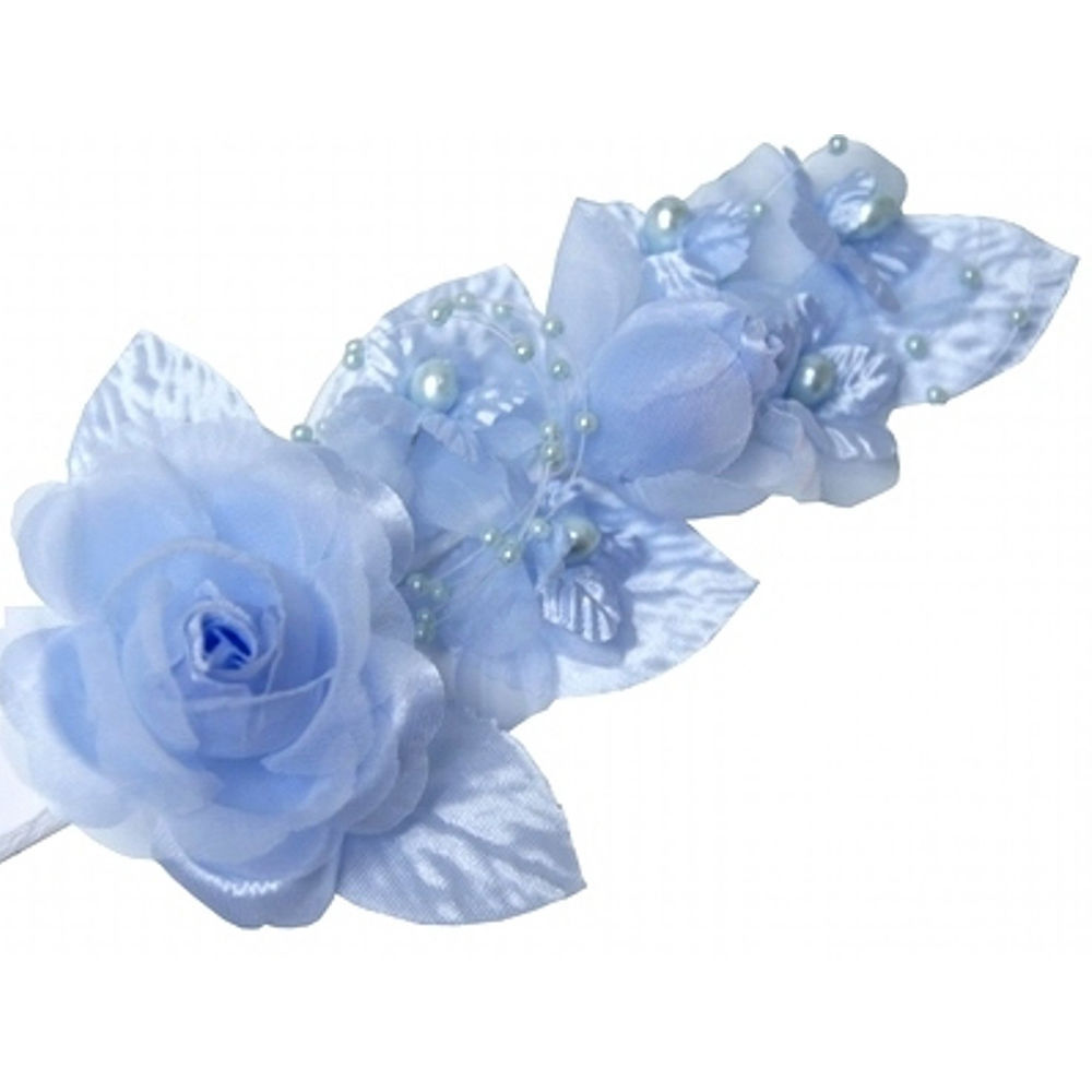 3 light blue Silk Satin Pearl & organza Corsages