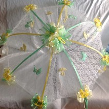 """36"""" White Lace baby shower umbrella yellow rocking horses green ribbons - $27.67"""