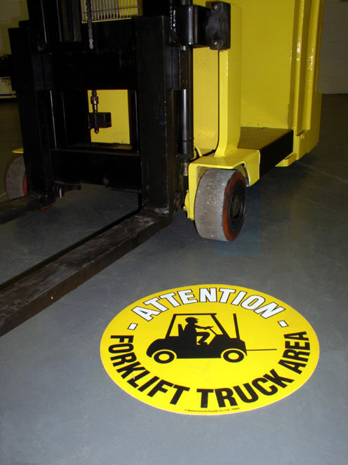 Floor Graphic Markers - Warning & Safety Floor Signs - 35 Designs - 430mm Dia