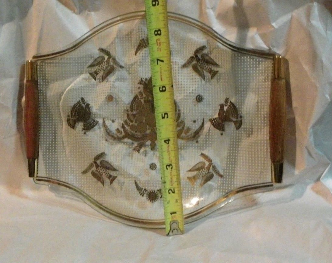 1950's George Briard Glass Serving Tray Wood Handles Mid Century Doves