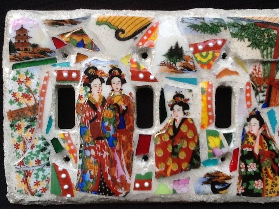 4 Toggle light switch plate Mosaic Geisha Girls, Oriental, Japanese