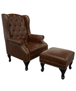 Wing High Back Bonded  Brown Tufted Leather Chair with Stool ,Nail Head ... - $757.35