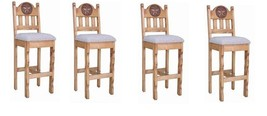"QTY 4 30"" PADDED STAR BAR STOOL Rustic Western Real Solid Wood Lodge Cabin - $692.99"