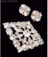 Vintage WEISS Clear Rhinestone Brooch & Earring... - $55.10