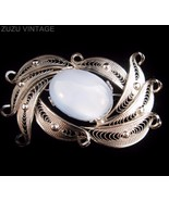 Vintage ALICE CAVINESS Sterling Filigree Moonstone Brooch (f2c) - $42.75
