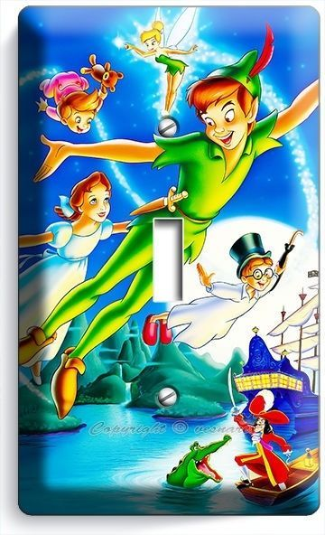 PETER PAN WENDY TINKER BELL NEVERLAND SINGLE LIGHT SWITCH WALL PLATE COVER DECOR