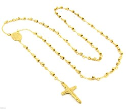 "Mens and Ladies Stainless Steel Gold 30"" Rosary Necklace 4mm Round Beads - $13.37"