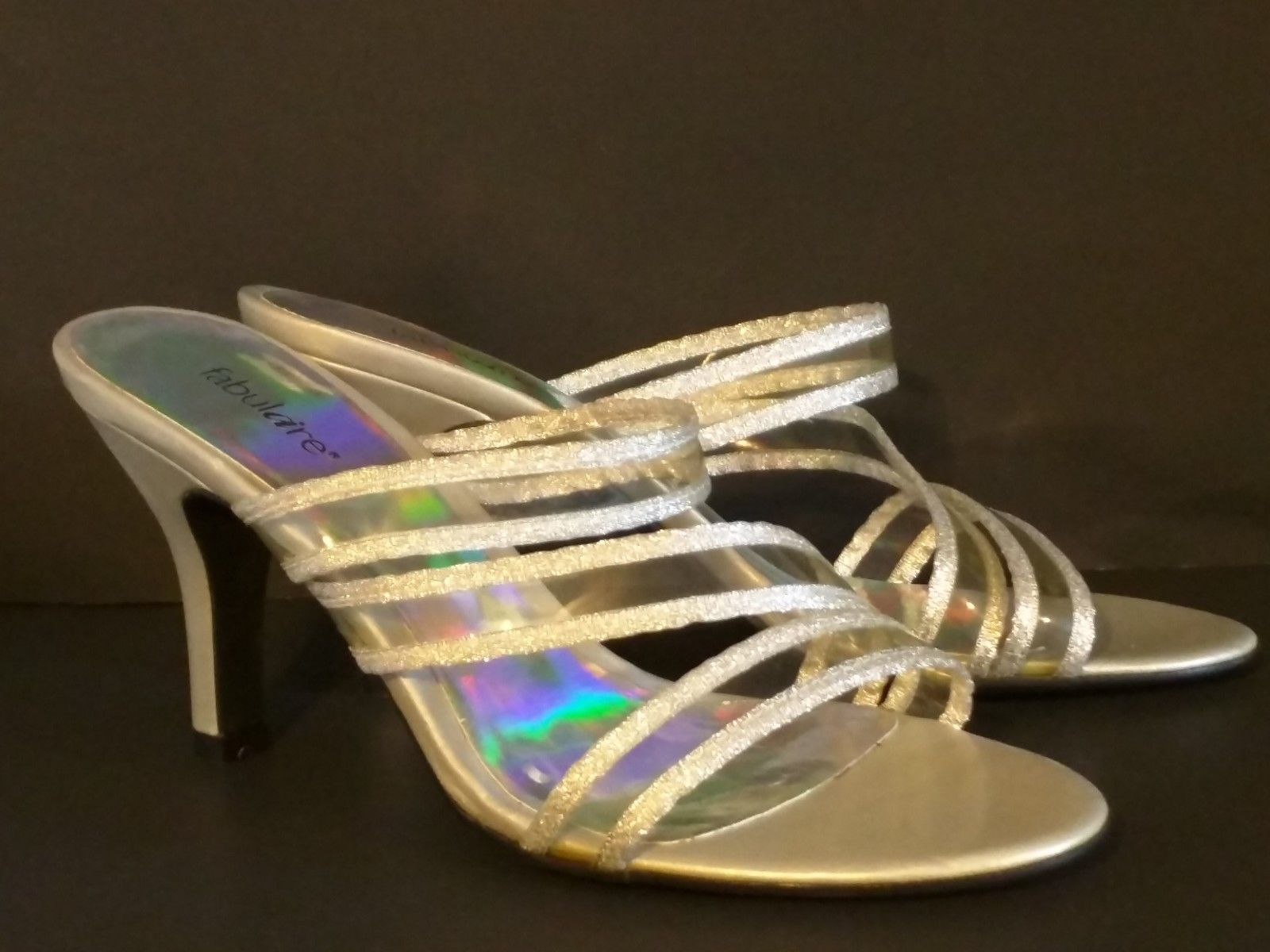FABULAIRE – Women's Silver Slide Heels/Sandals - Size: 7 ½ M