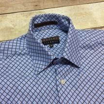 Robert Talbott Carmel Blue Brown Diamond Plaid Men's Medium Cotton Casua... - €18,22 EUR