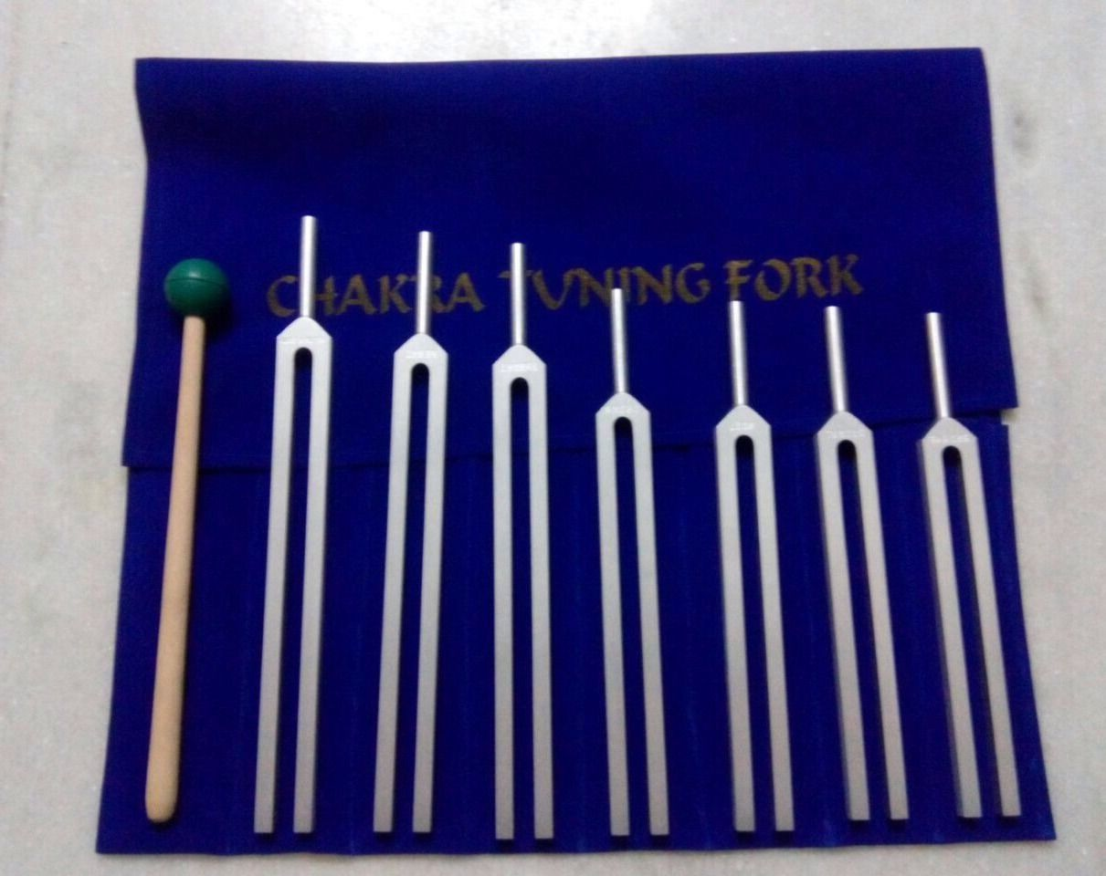 7 Pc Tuning Fork Chakra Mallet Diagnostic Kit Chiropractic Brand New