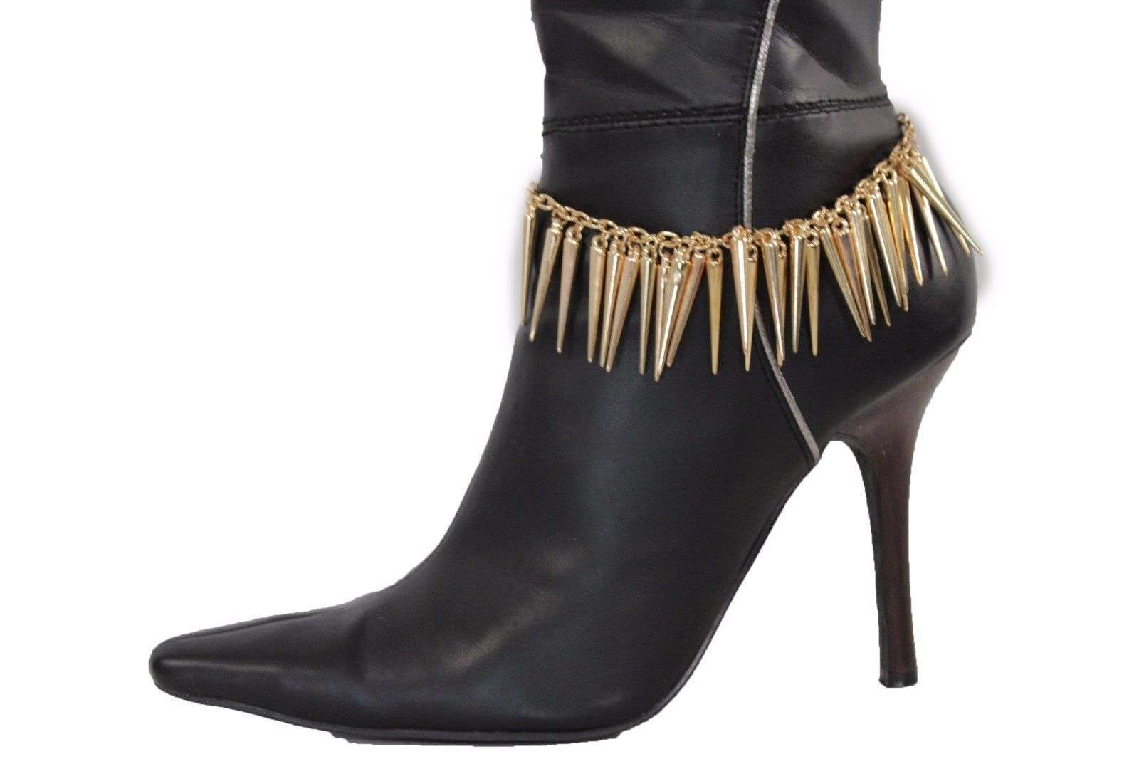 New Women Boot Bracelet Gold Metal Chain Anklet Rocker Fashion Shoe Spikes Charm