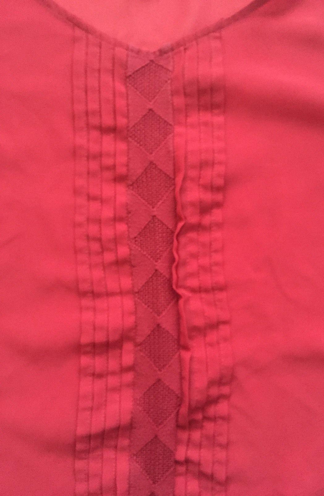 Loft Dark Pink Sheer Blouse Shirt XS Pleated Diamond Weave Gathered Shoulders
