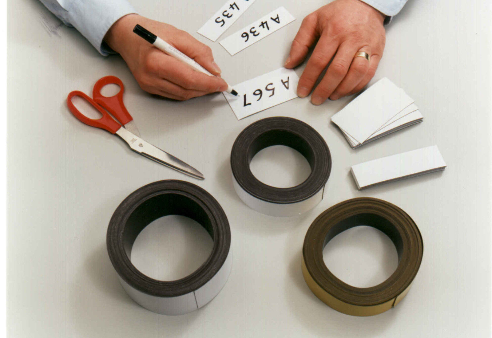 Magnetic Tape / Magnetic Strip, Easy Wipe Racking Strip, 50mm High x 10M Long