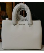 NWT MICHAEL MICHAEL KORS Savannah Large Saffiano Leather Satchel OPTIC W... - $289.00