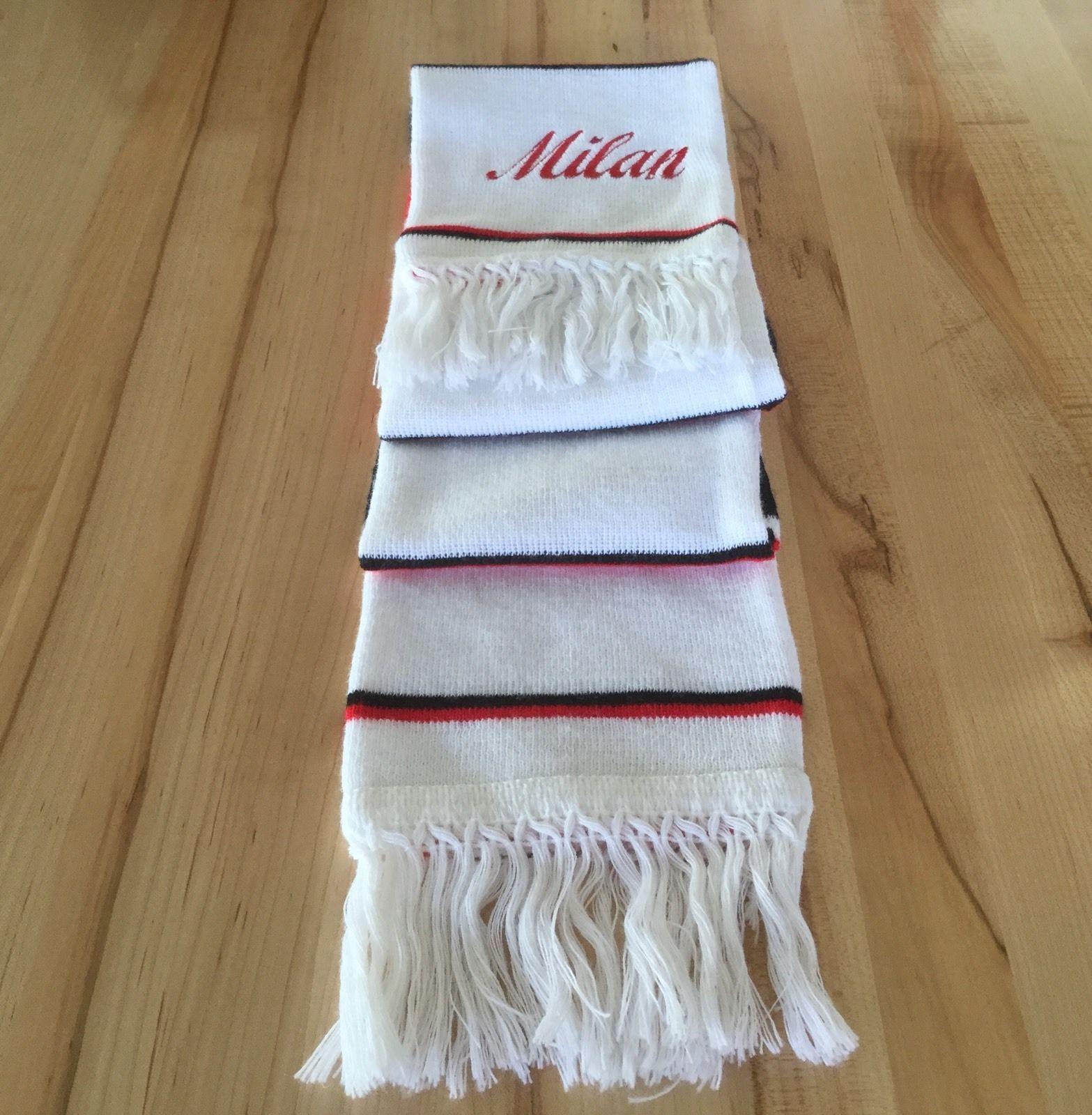 "Milan REVERSIBLE SCARF White / Red / Black 7""X 59"" Striped 100% Acrylic"