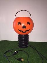 "Vintage 12"" Blinky Halloween Blow Mold Jack-O-Lantern Pumpkin On Black B... - £14.21 GBP"