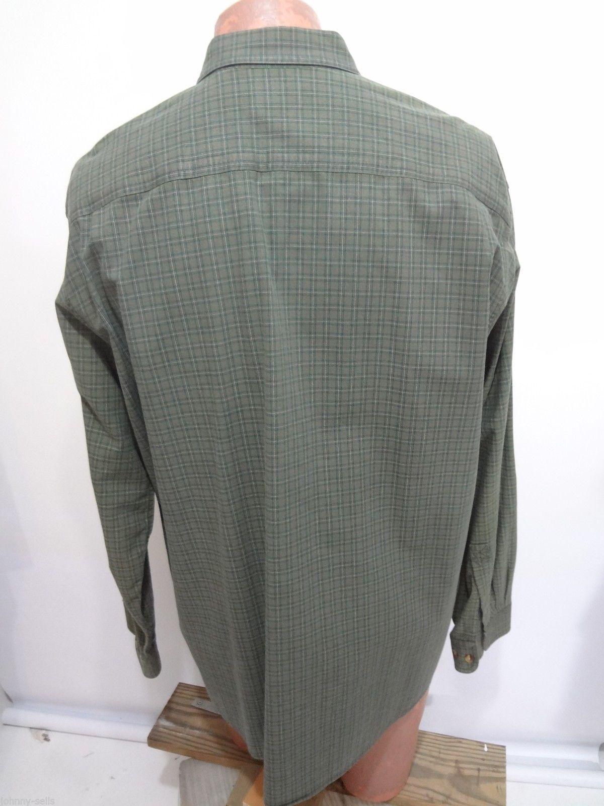 LL Bean Mens L Reg Green Plaid Button-Down Long-Sleeve Cotton Shirt
