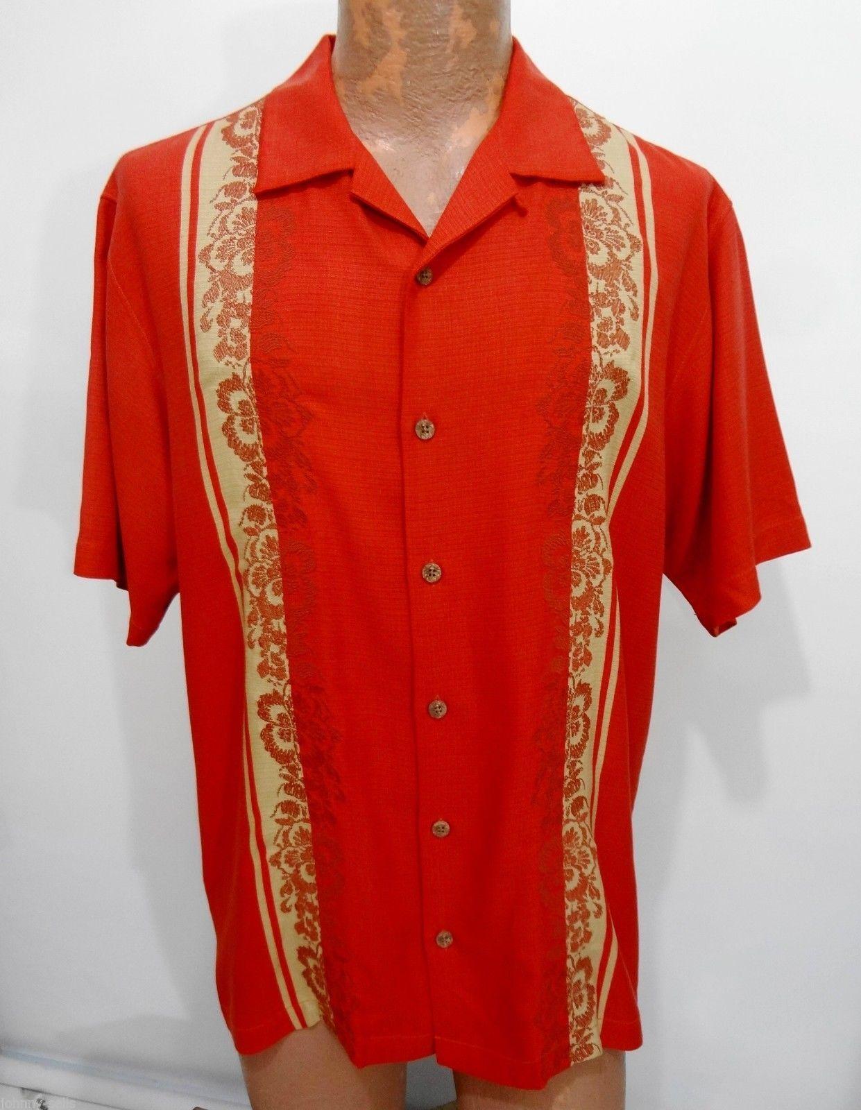 Tommy Bahama Mens M Path to Raj Orange Short Sleeve Silk Camp Shirt