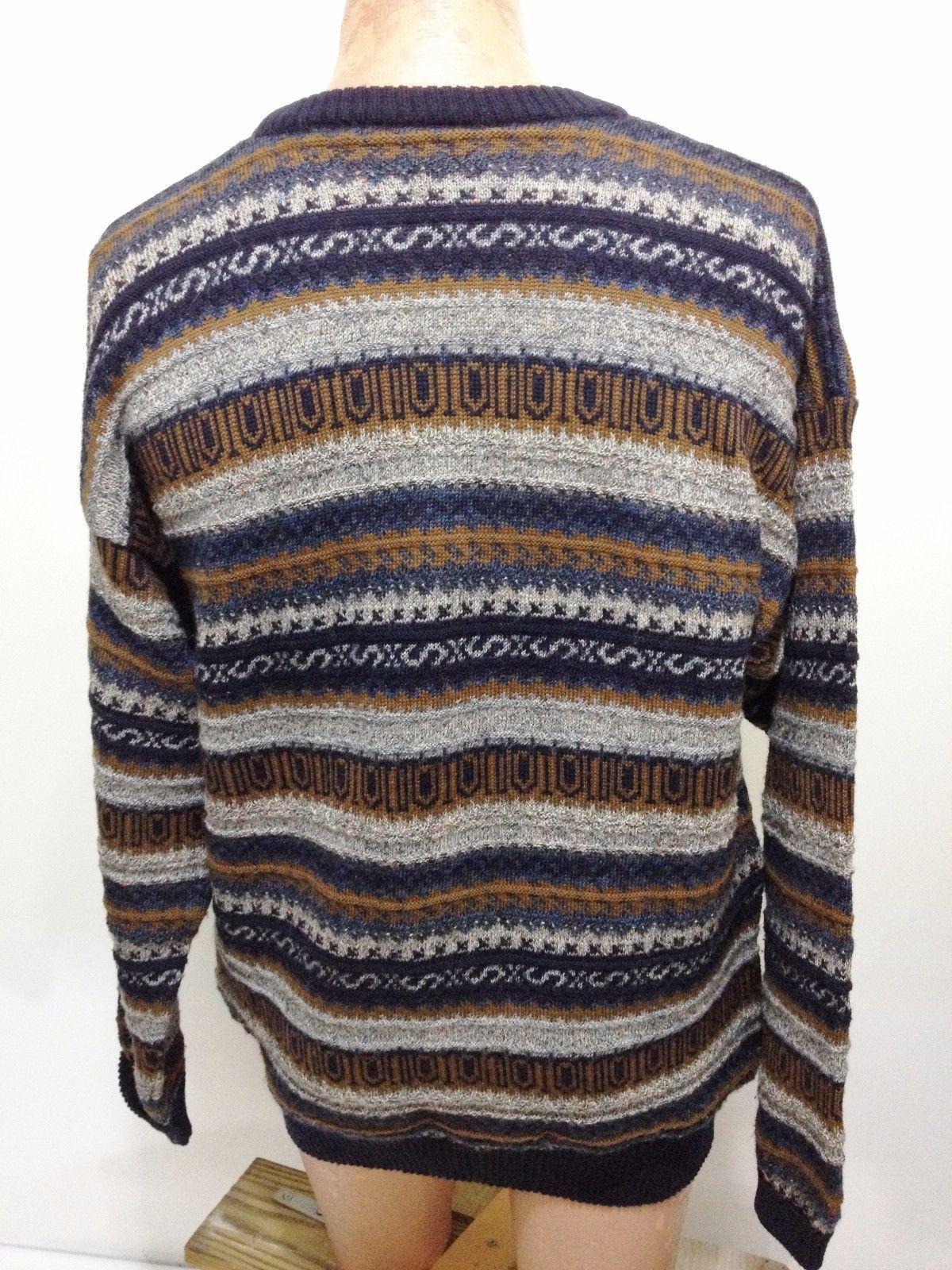 Gaeltarra Mens 46 Blue & Brown Wool-Alpaca Pullover Irish Sweater