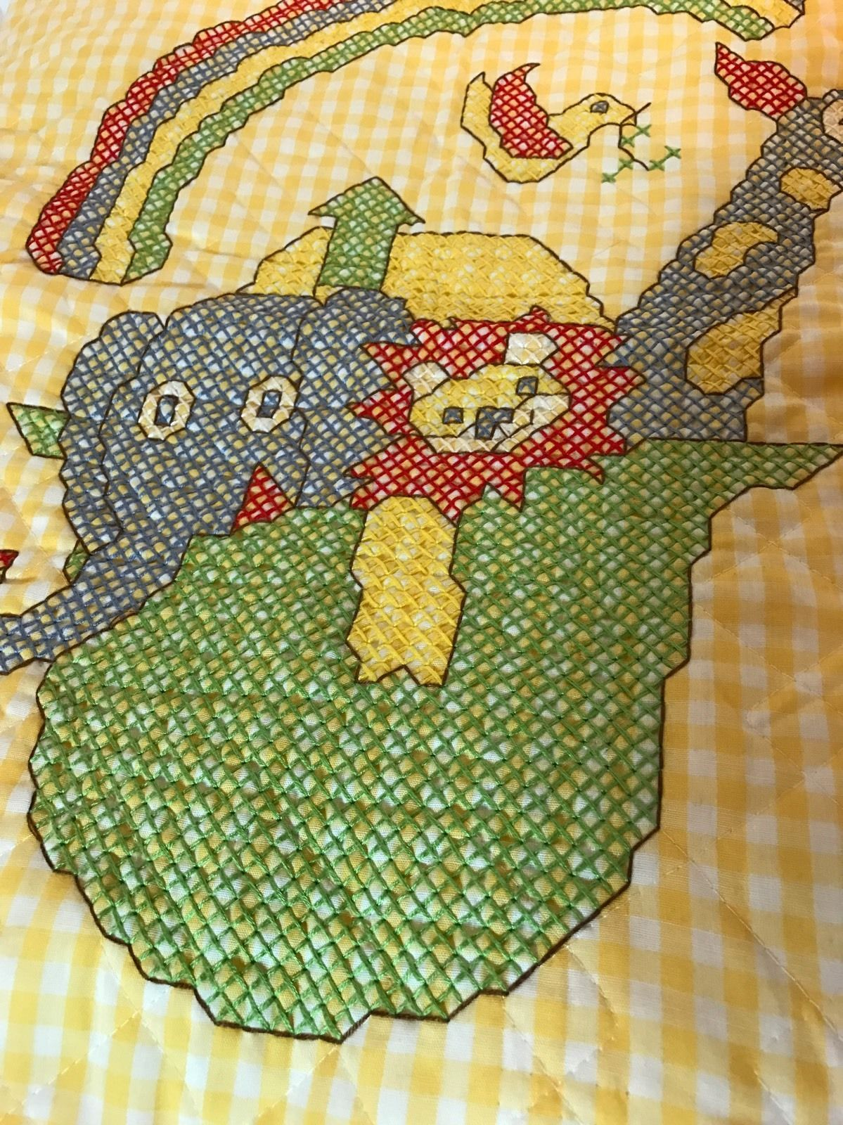 Completed Cross Stitch Baby Quilt Noah's Ark Yellow Rainbow Animals