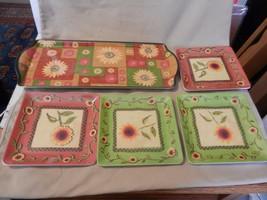 5 Piece Melamine Snack Serving Set, Tray, 4 Square Plates, Flower Pattern - £23.47 GBP