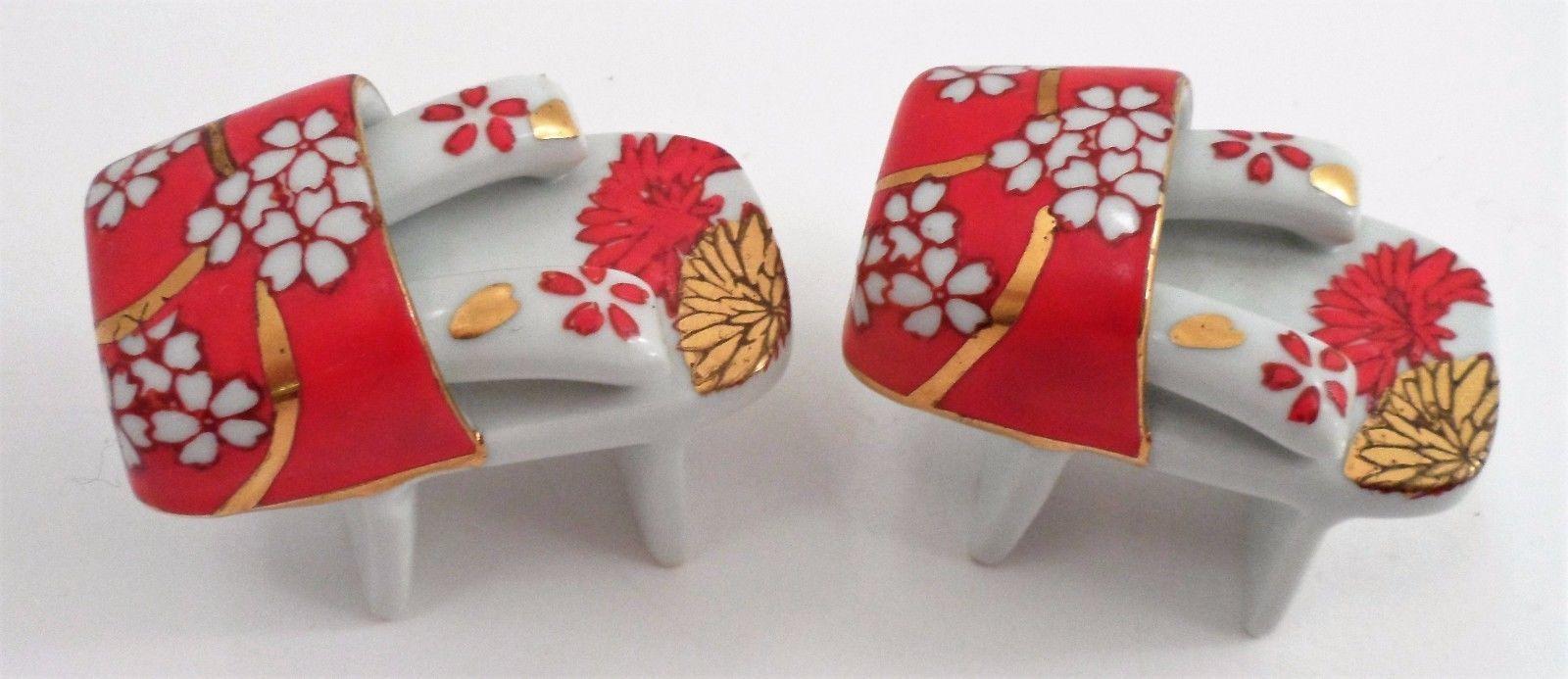 Red Gold Chrysanthemum Geisha Tall Shoes Sandals Porcelain Salt Pepper Shakers