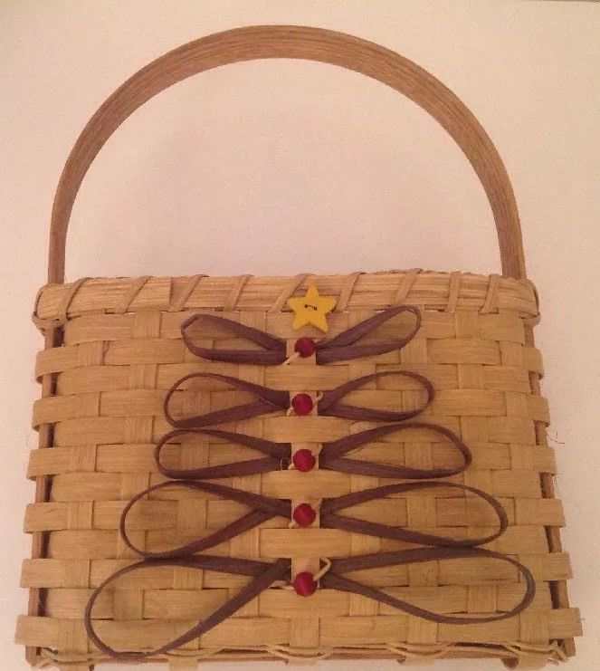 Artist Signed Christmas Tree Basket Staved Wood Handle Holiday Folk Art Xmas